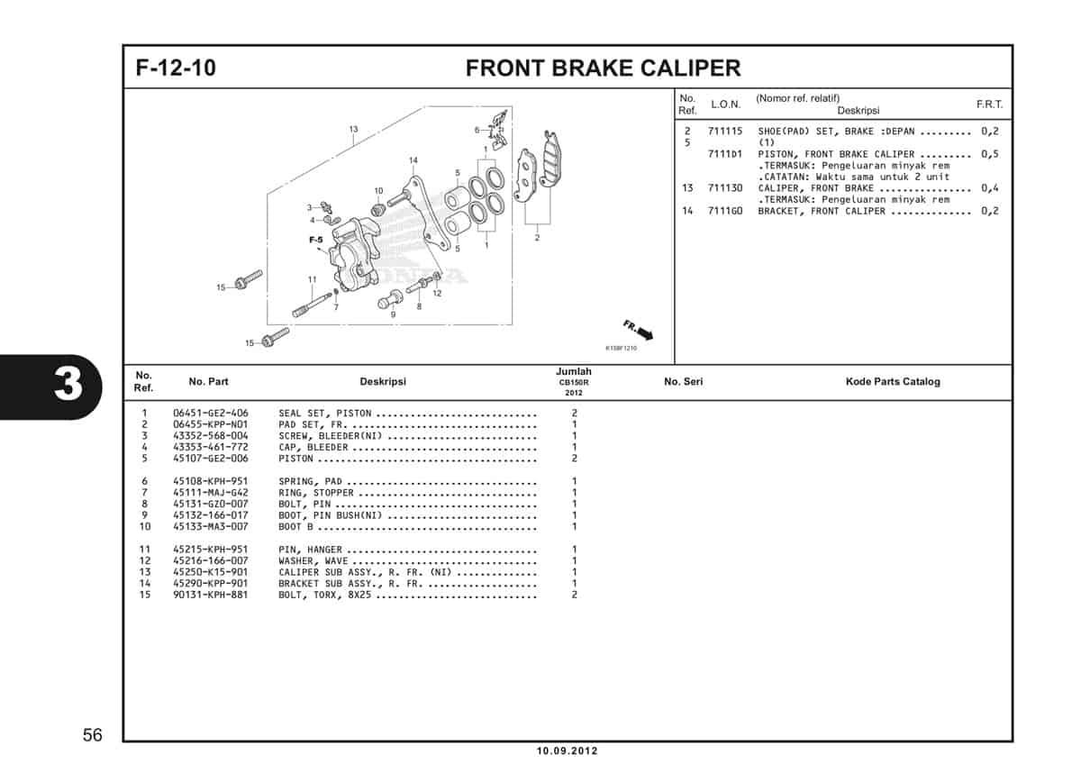 F-12-10 Front Brake Caliper Katalog CB150R StreetFire K15