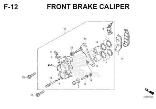 F-12 Front Brake Caliper CBR 150R K45A