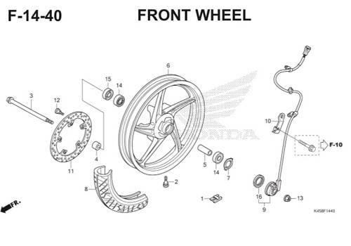 F14-40 – Front Wheel – Katalog Honda CBR 150R K45A