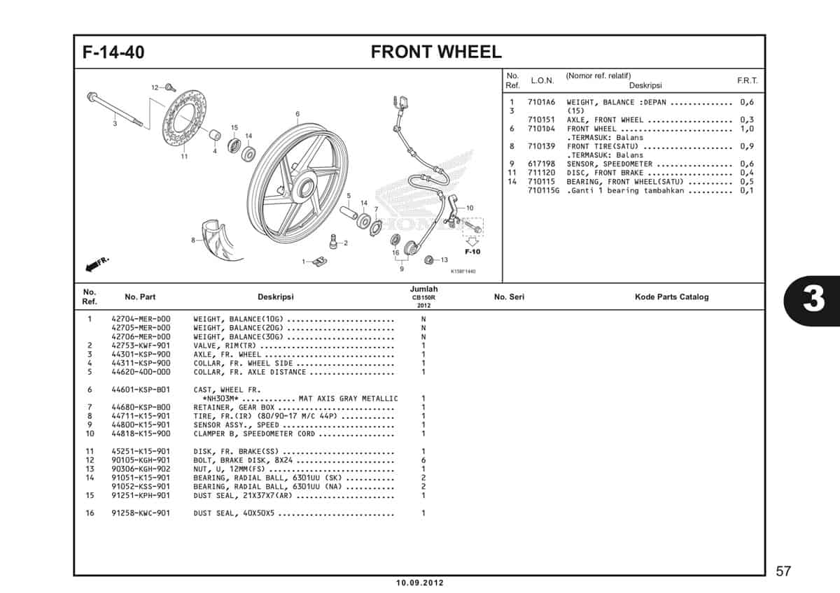 F-14-40 Front Wheel Katalog CB150R StreetFire K15