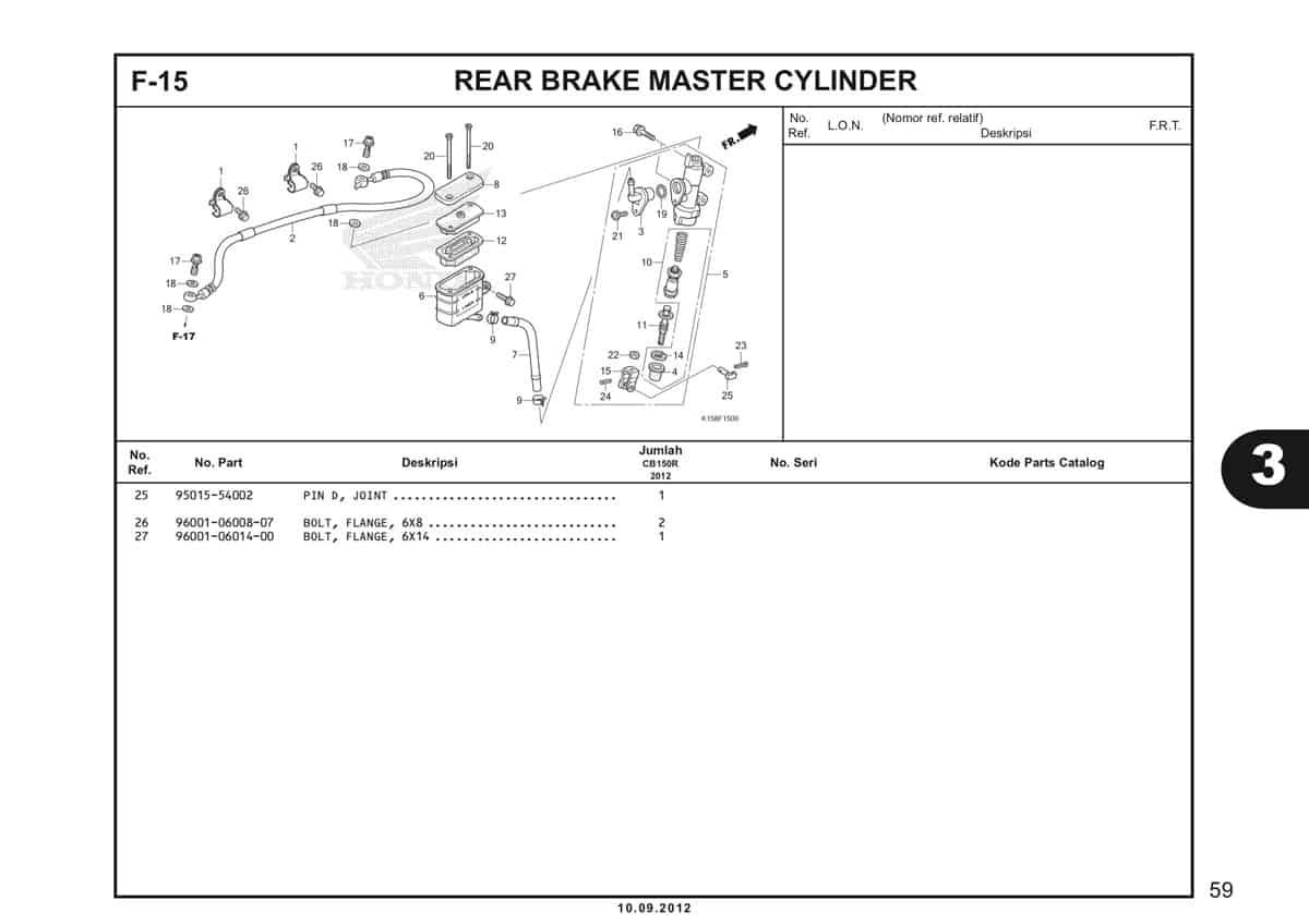 F-15 Rear Brake Master Cylinder Katalog CB150R StreetFire K15