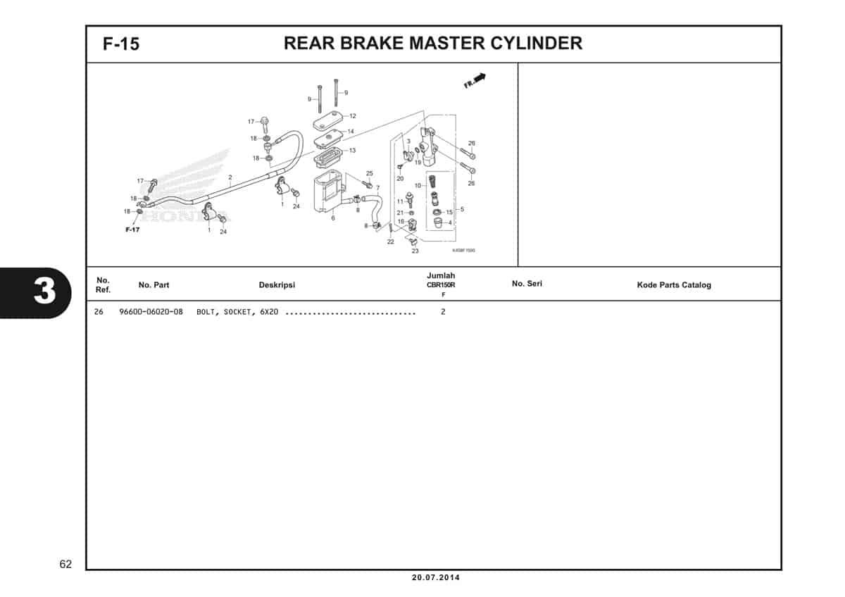 F-15 Rear Brake Master Cylinder Katalog CBR 150R K45A