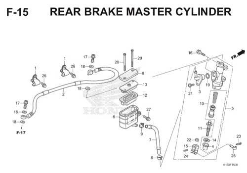 F-15 Rear Brake Master Cylinder CB150R StreetFire K15