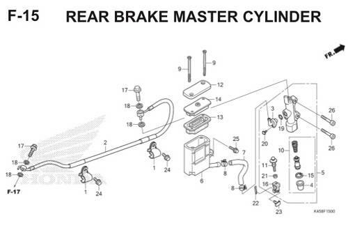 F-15 Rear Brake Master Cylinder CBR 150R K45A