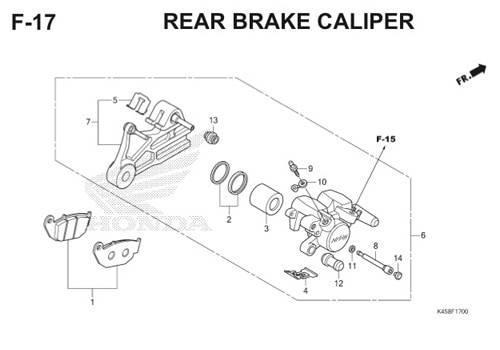 F-17 Rear Brake Caliper CBR 150R K45A