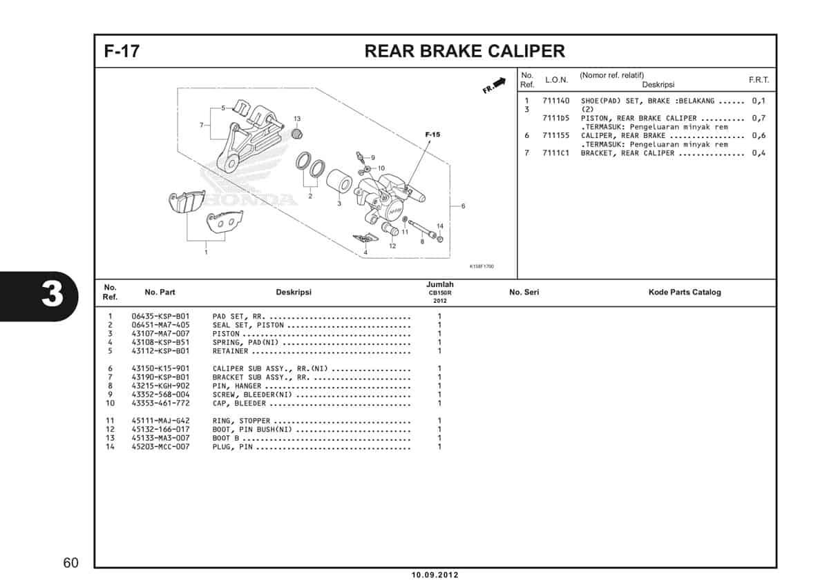 F-17 Rear Brake Caliper Katalog CB150R StreetFire K15