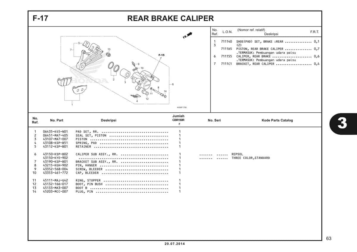 F-17 Rear Brake Caliper Katalog CBR 150R K45A