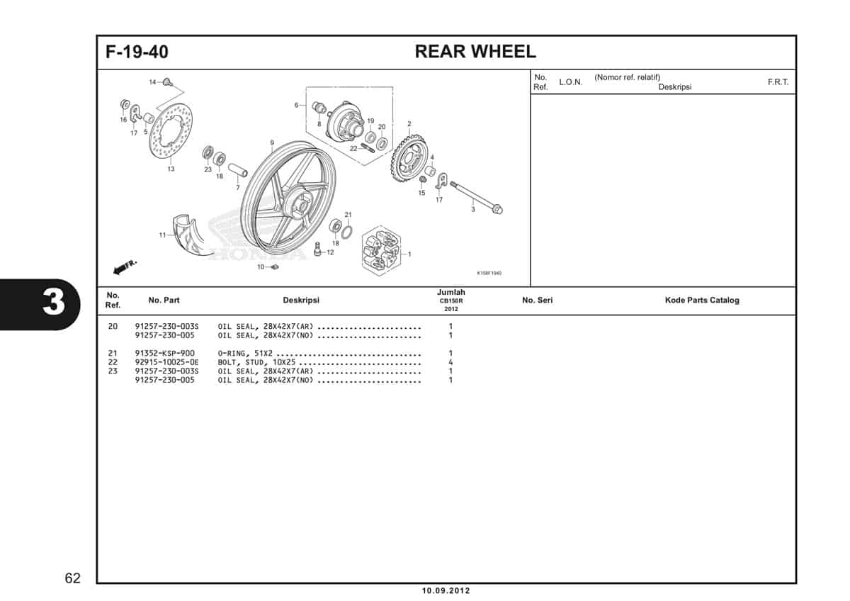 F-19-40 Rear Wheel Katalog CB150R StreetFire K15