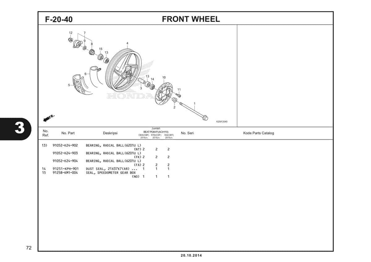F 20 40 Front Wheel Katalog BeAT eSP K25