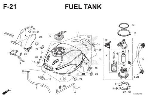 F-21 Fuel Tank CBR 150R K45A