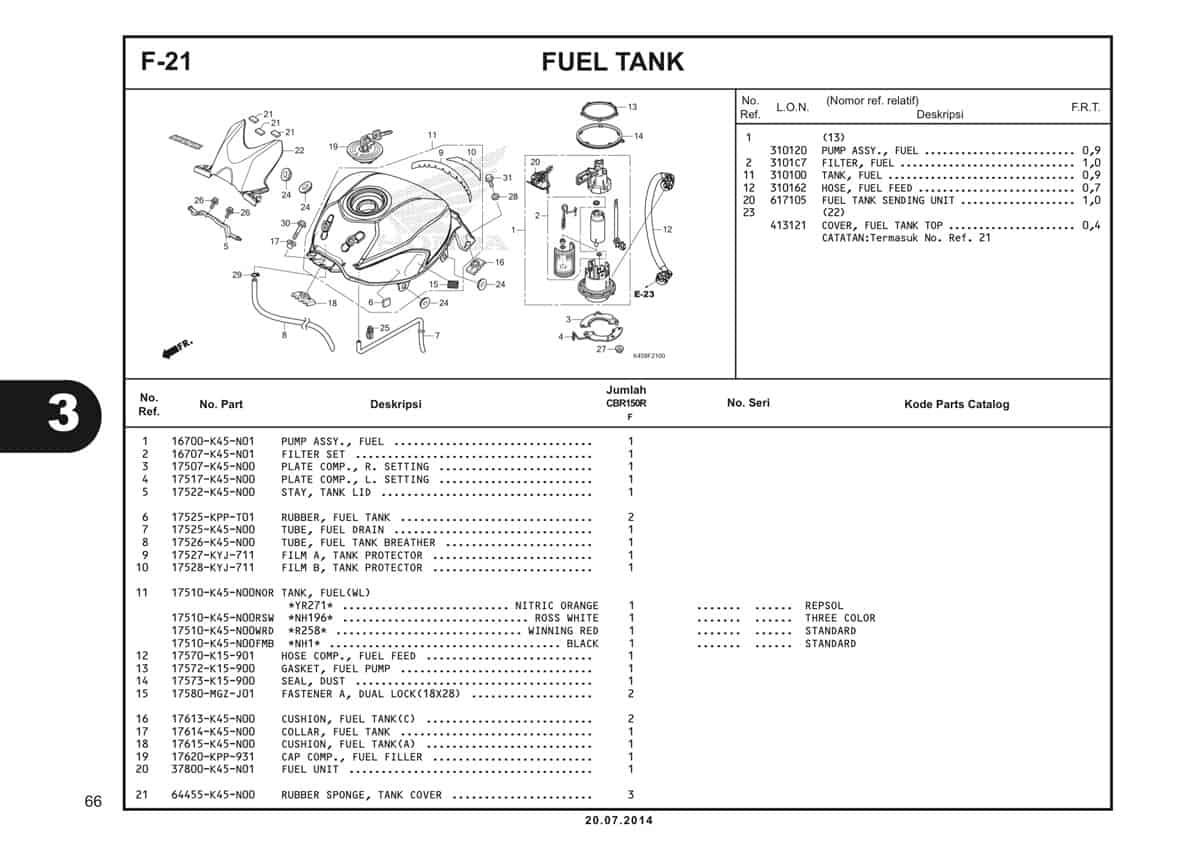 F-21 Fuel Tank Katalog CBR 150R K45A