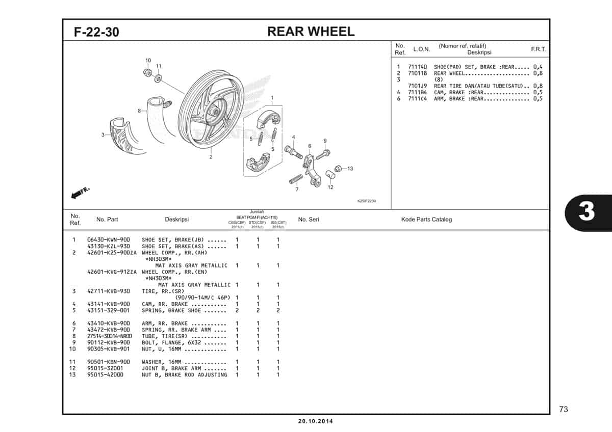 F 22 30 Rear Wheel Katalog BeAT eSP K25