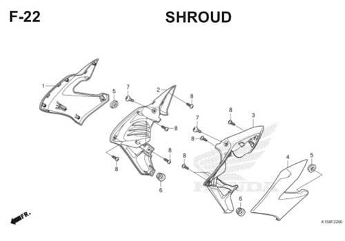 F22 – Shroud – Katalog Honda New CB150R StreetFire K15