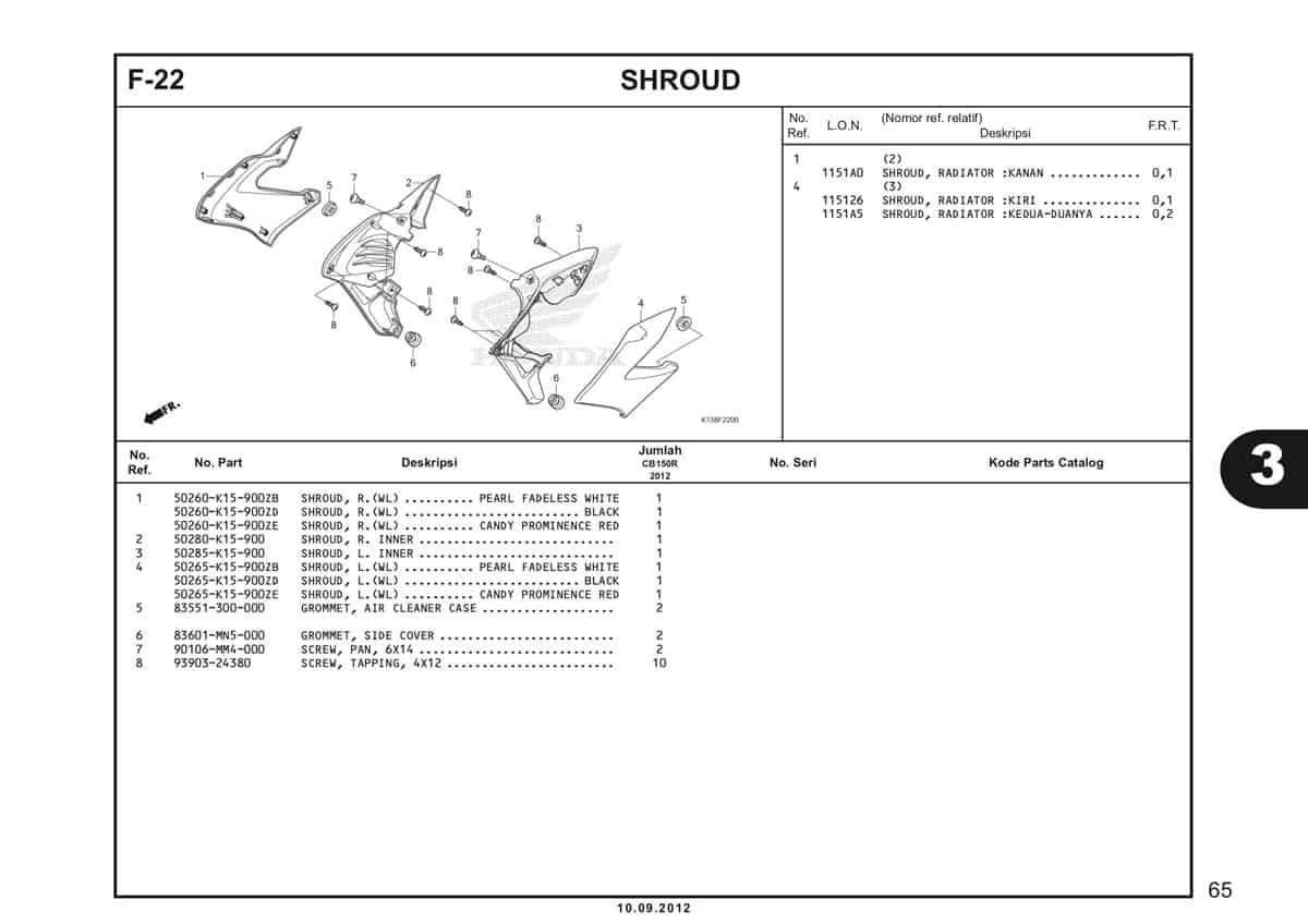 F-22 Shroud Katalog CB150R StreetFire K15