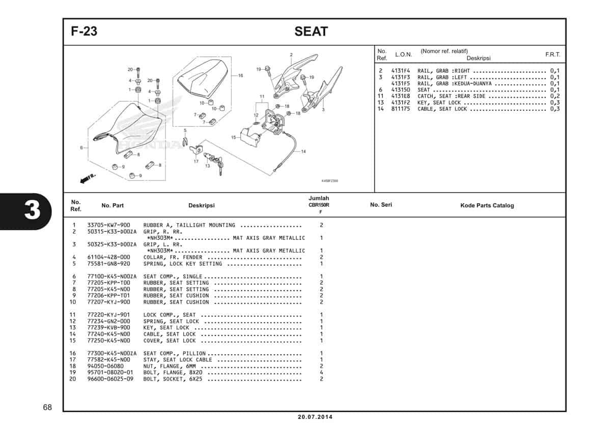 F-23 Seat Katalog CBR 150R K45A