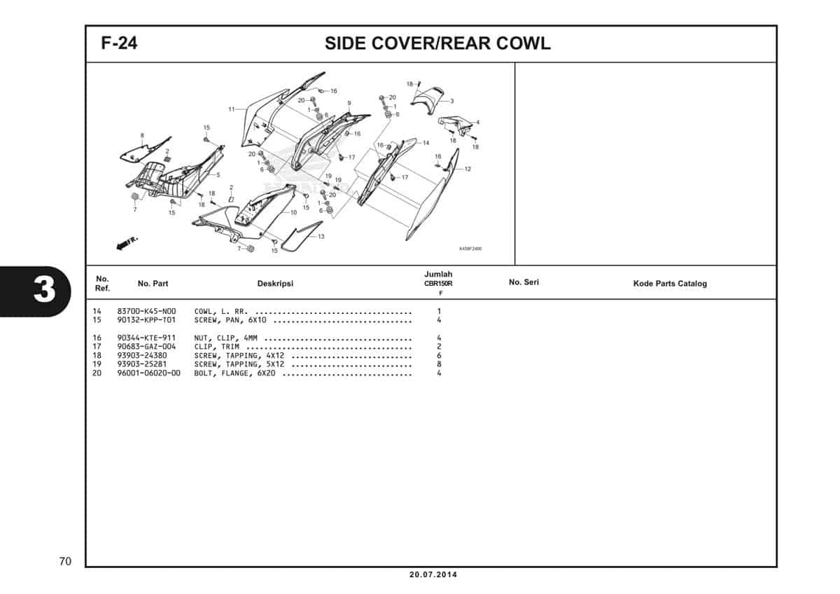 F-24 Side Cover/Rear Cowl Katalog CBR 150R K45A