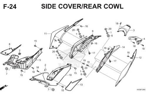 F-24 Side Cover/Rear Cowl CBR 150R K45A