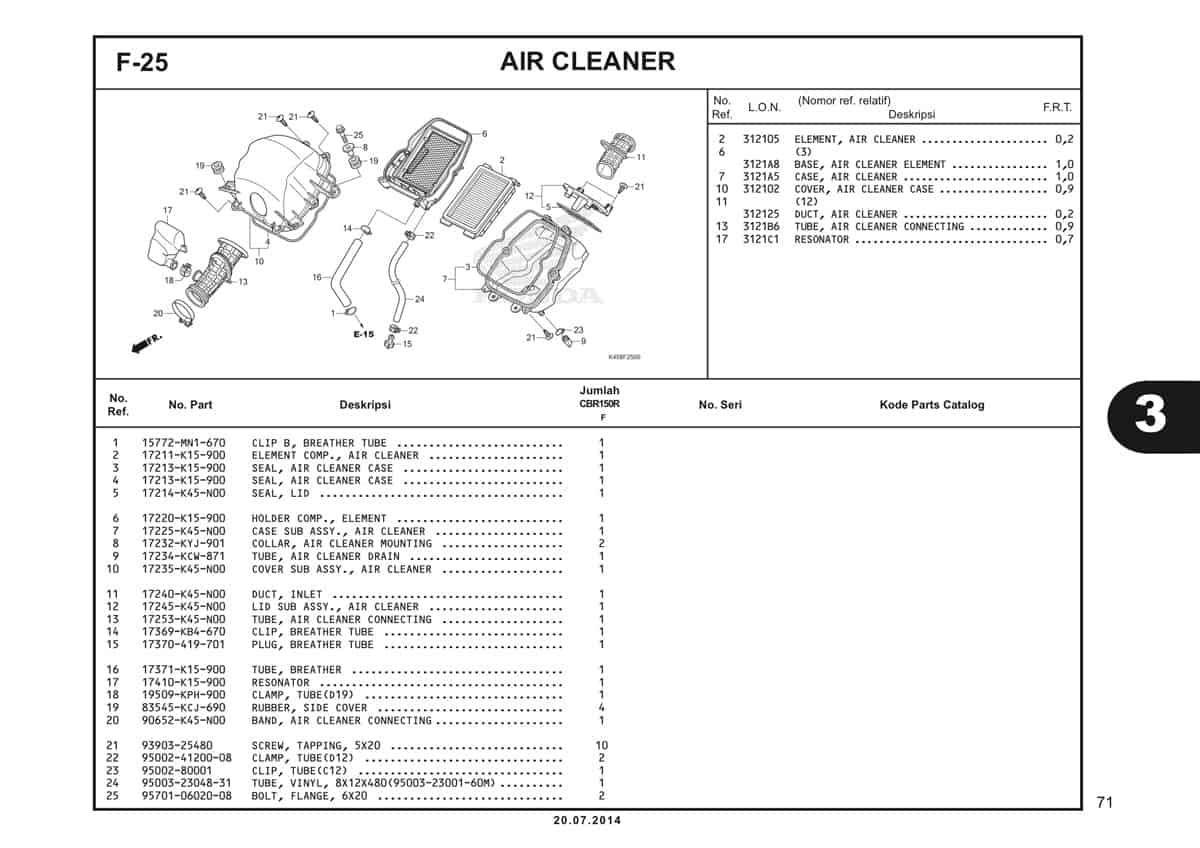 F-25 Air Cleaner Katalog CBR 150R K45A