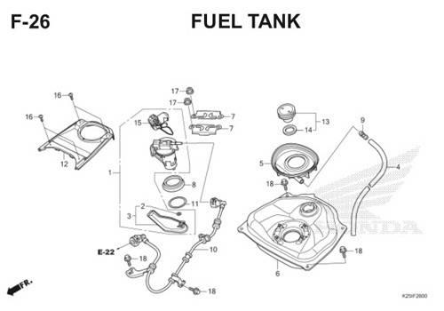 F 26 Fuel Tank BeAT eSP K25
