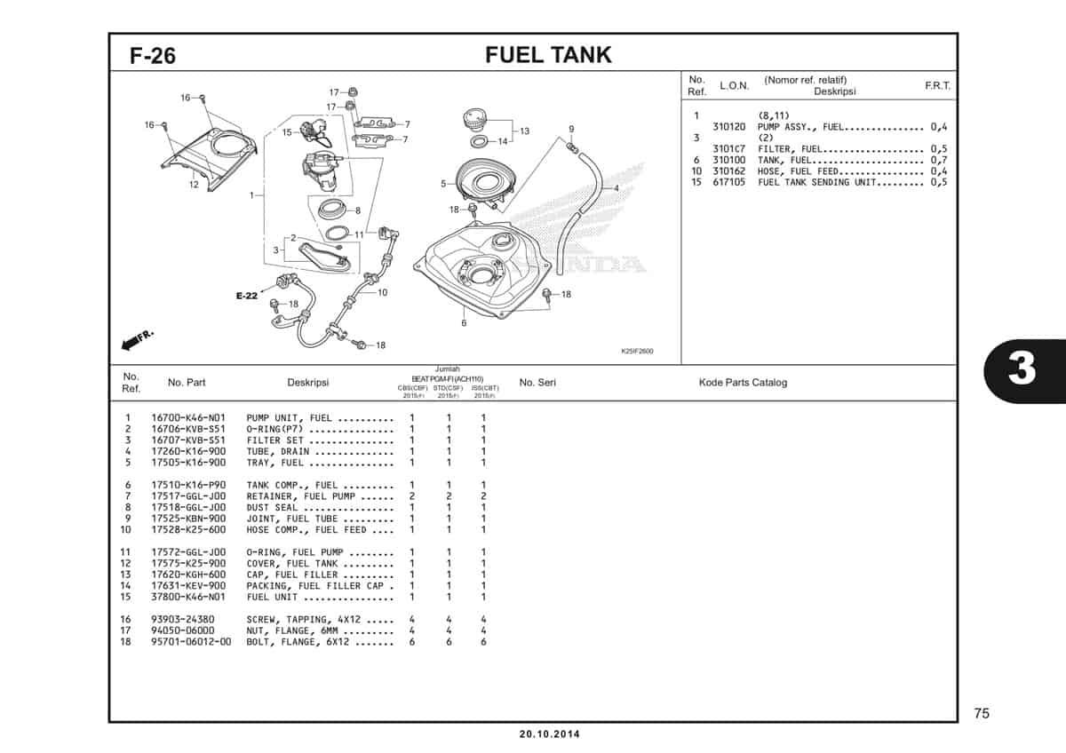 F 26 Fuel Tank Katalog BeAT eSP K25