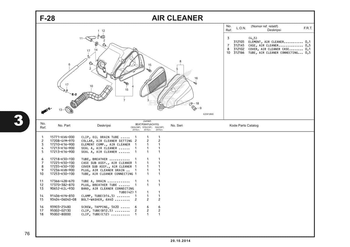 F 28 Air Cleaner Katalog BeAT eSP K25