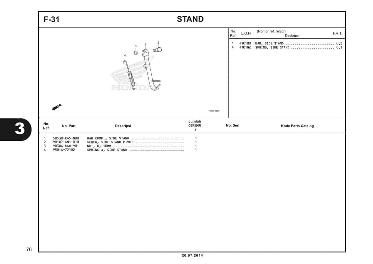 F-31 Stand Katalog CBR 150R K45A