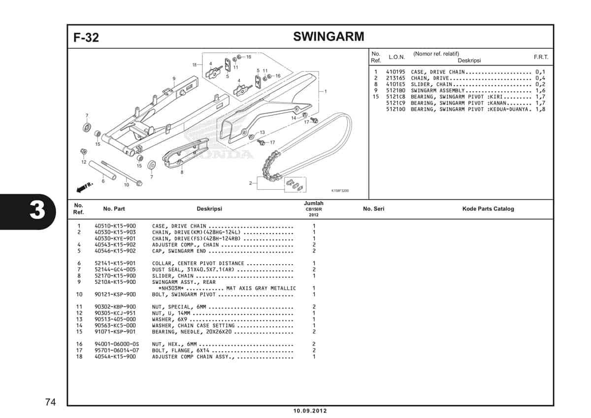 F-32 Swingarm Katalog CB150R StreetFire K15