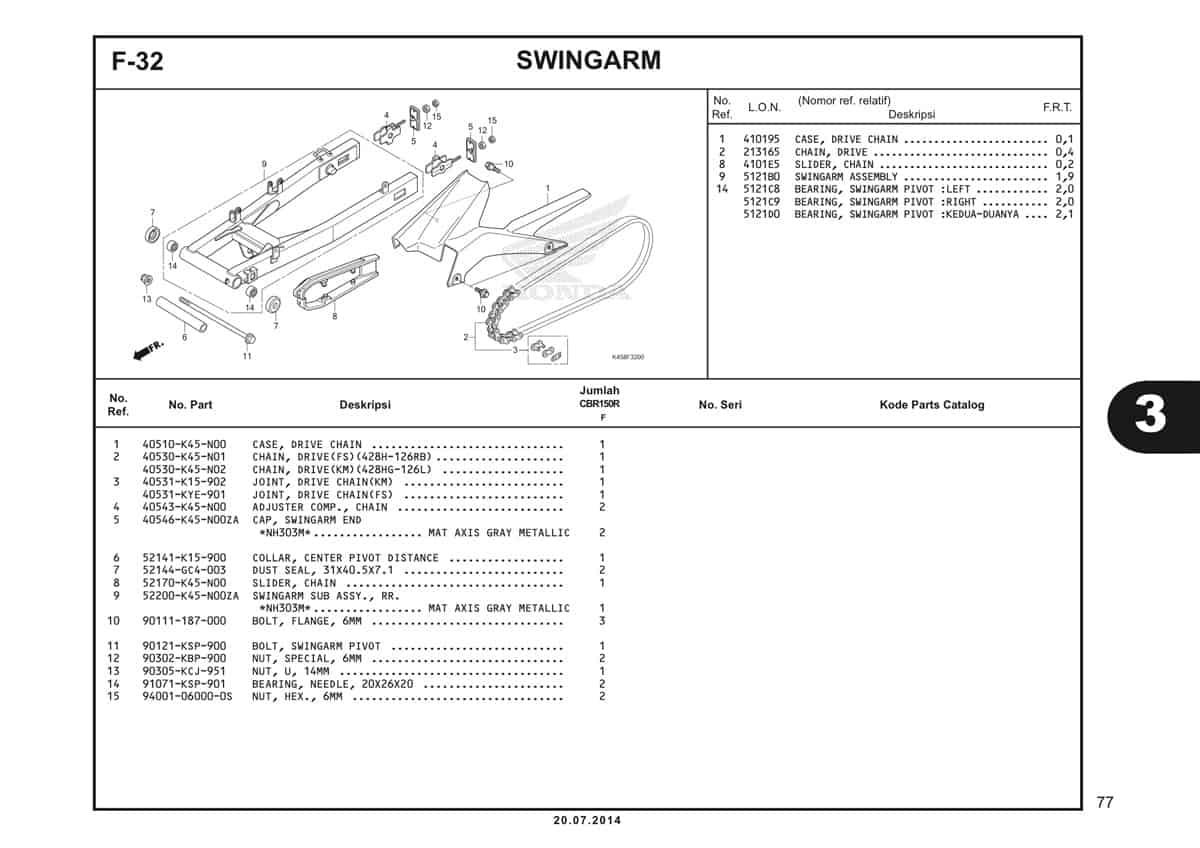 F-32 Swingarm Katalog CBR 150R K45A