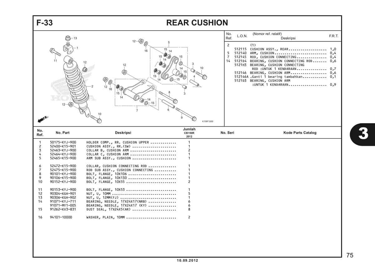 F-33 Rear Cushion Katalog CB150R StreetFire K15