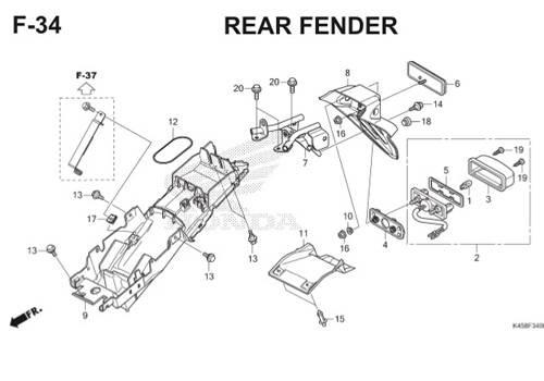 F34 – Rear Fender – Katalog Honda CBR 150R K45A
