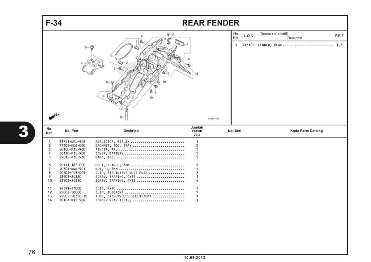 F-34 Rear Fender Katalog CB150R StreetFire K15