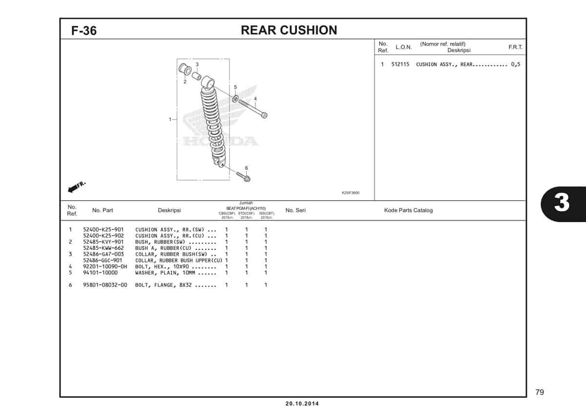F 36 Rear Cushion Katalog BeAT eSP K25
