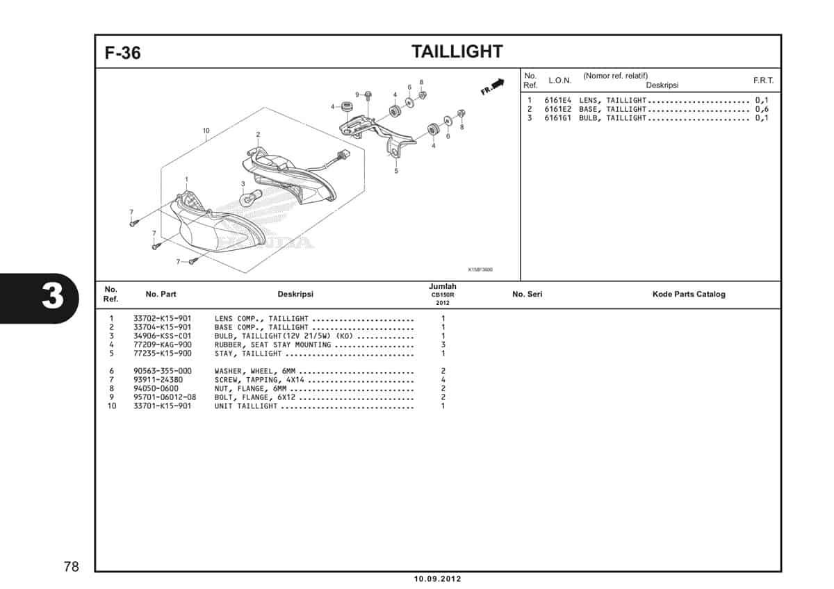 F-36 Taillight Katalog CB150R StreetFire K15