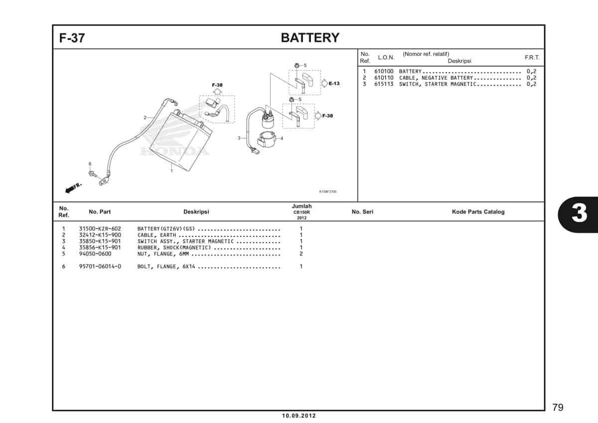F-37 Battery Katalog CB150R StreetFire K15