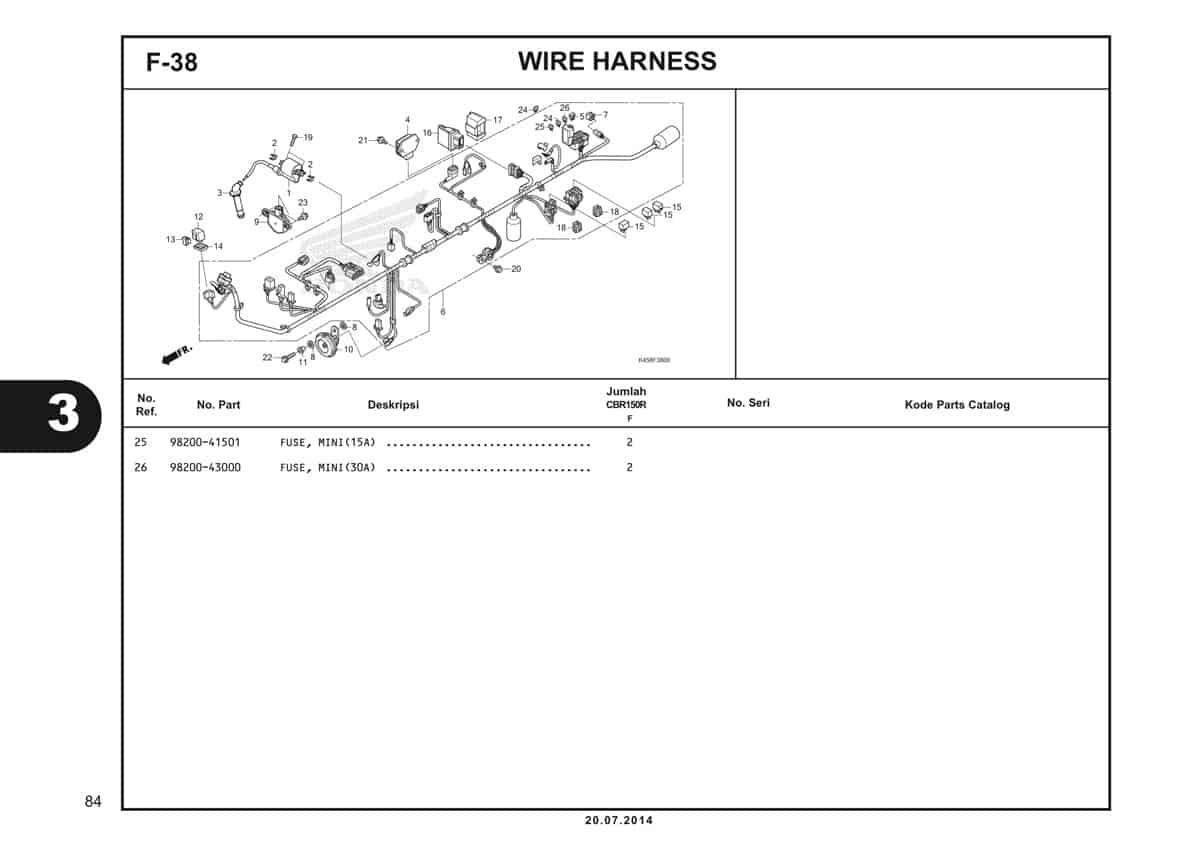 F-38 Wire Harness Katalog CBR 150R K45A