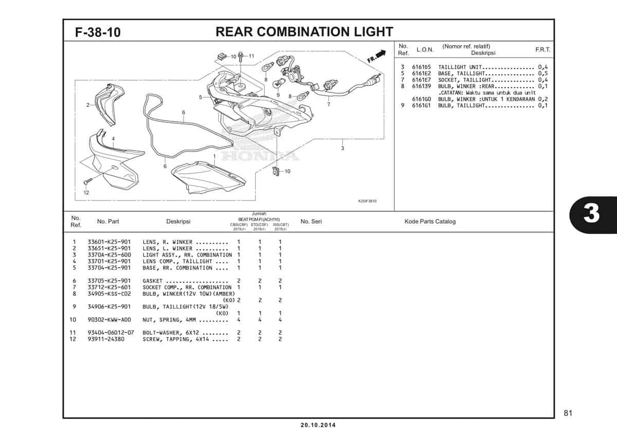 F 38 10 Rear Combination Light Katalog BeAT eSP K25