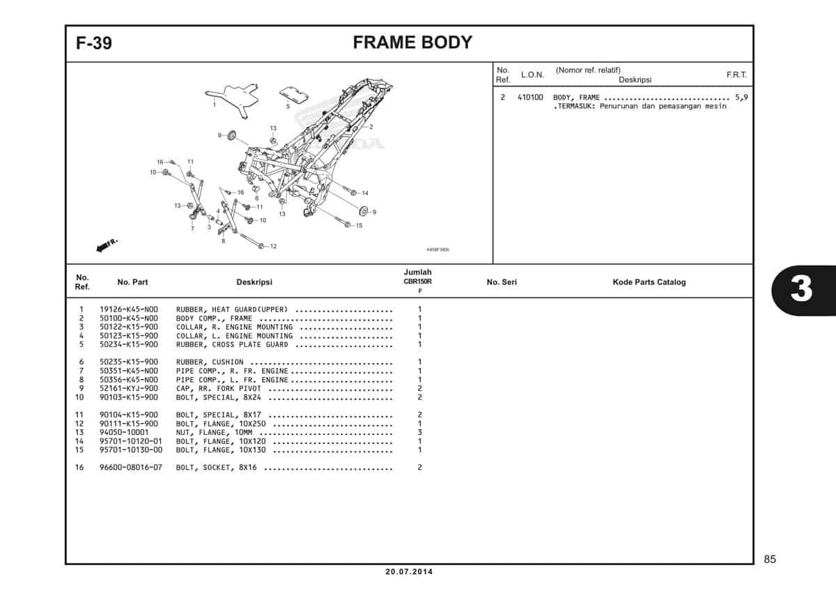 F-39 Frame Body Katalog CBR 150R K45A