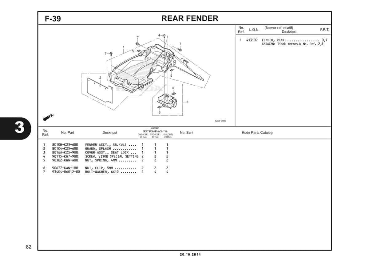 F 39 Rear Fender Katalog BeAT eSP K25