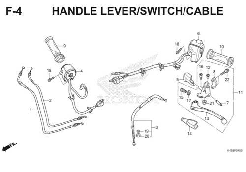 F-4 Handle Lever/Switch/Cable CBR 150R K45A
