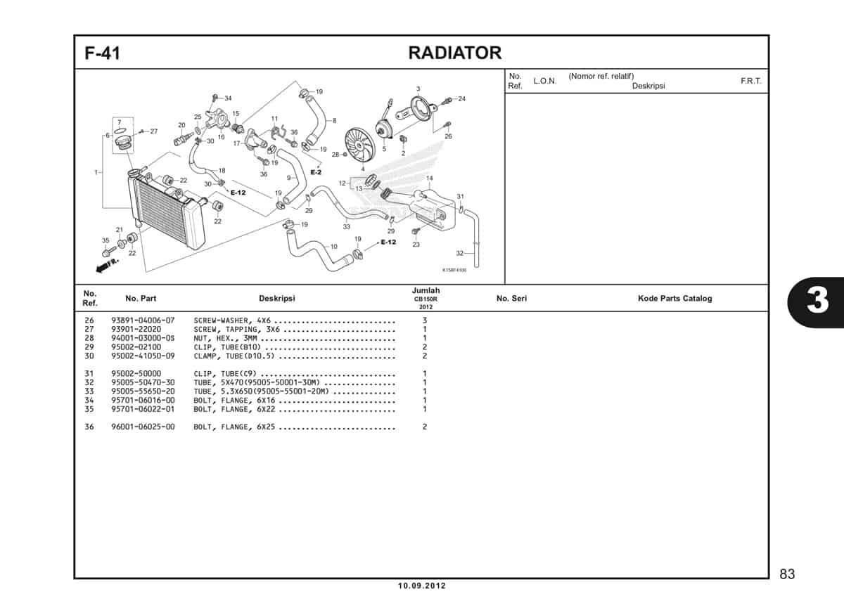 F-41 Radiator Katalog CB150R StreetFire K15