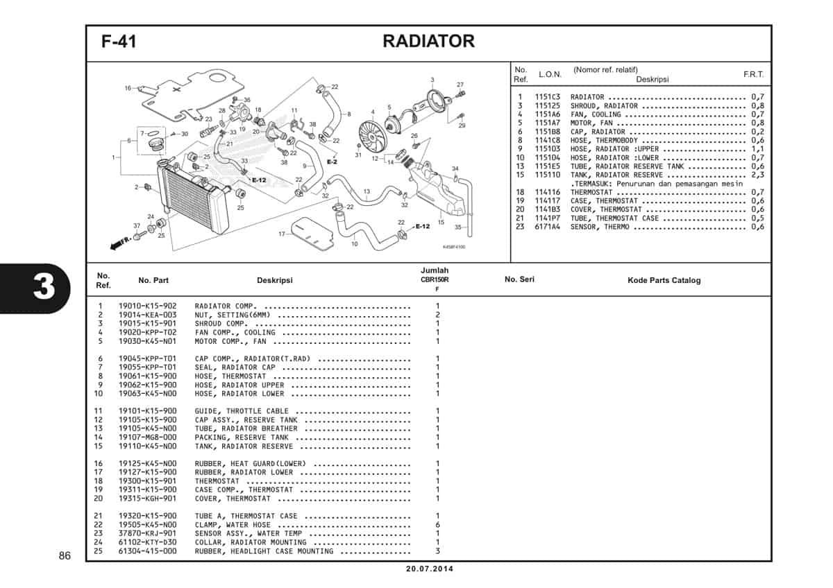 F-41 Radiator Katalog CBR 150R K45A