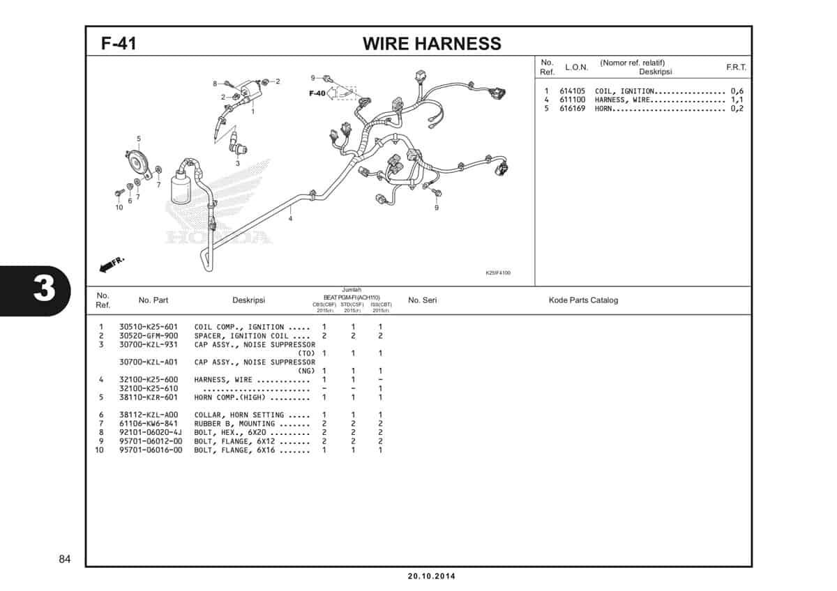 F 41 Wire Harness Katalog BeAT eSP K25