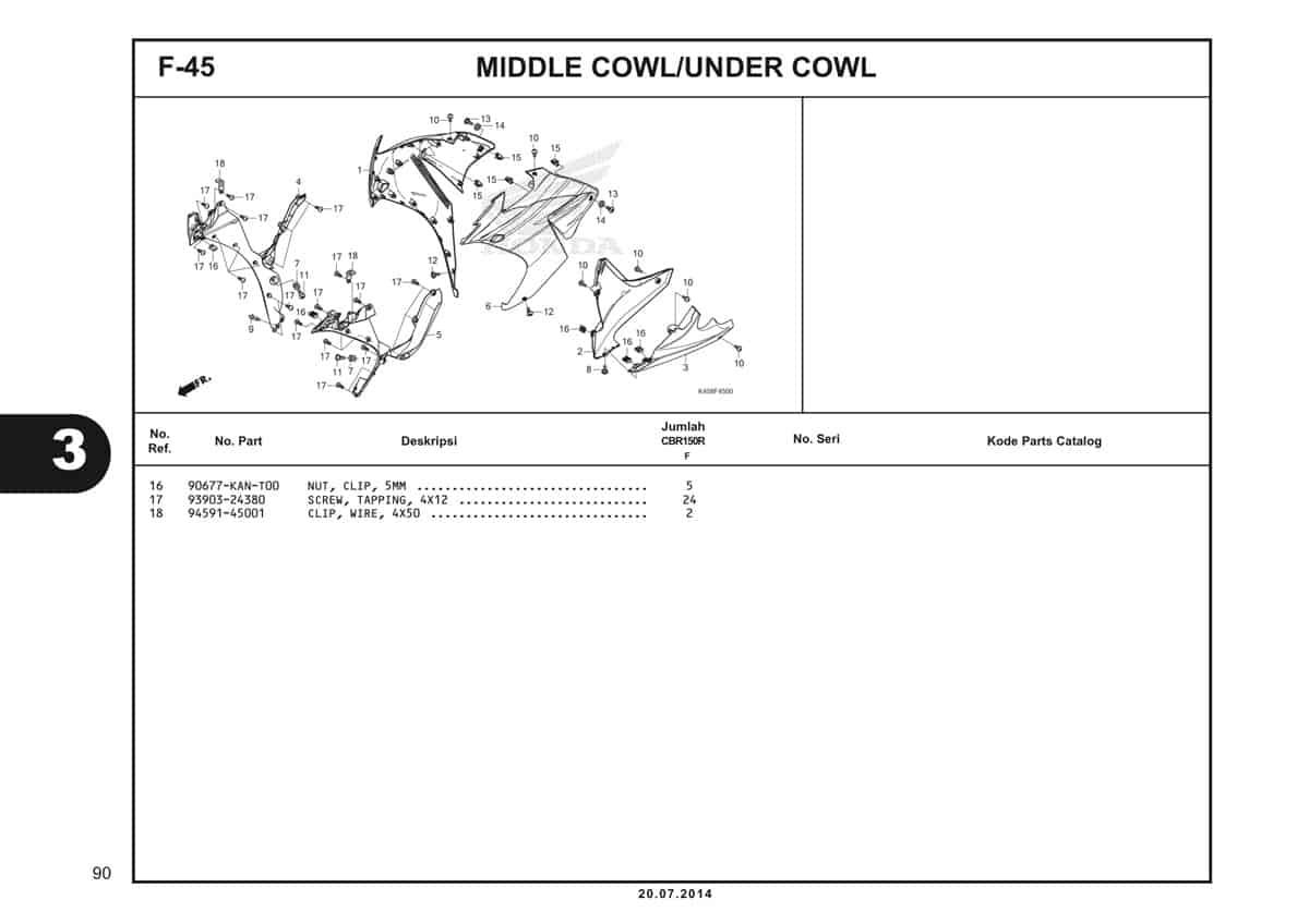F-45 Middle Cowl Under Cowl Katalog CBR 150R K45A