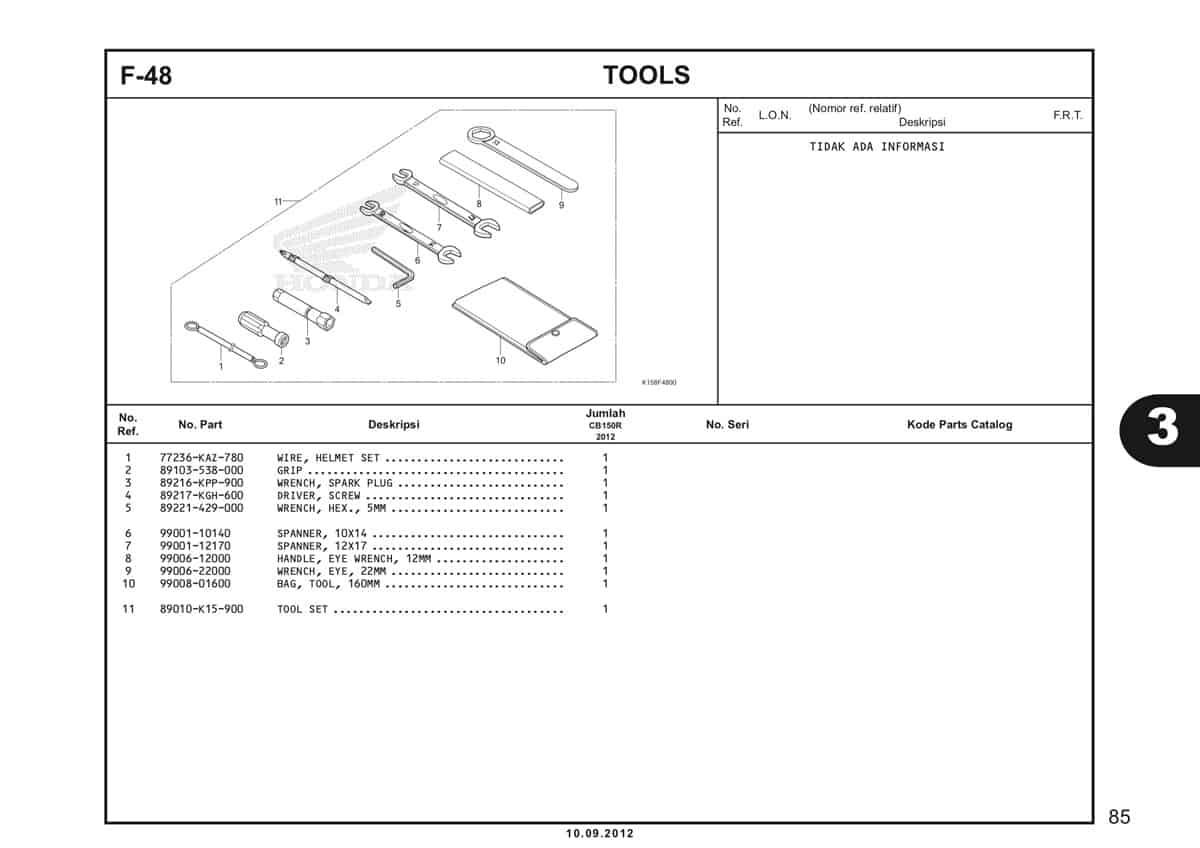 F-48 Tools Katalog CB150R StreetFire K15