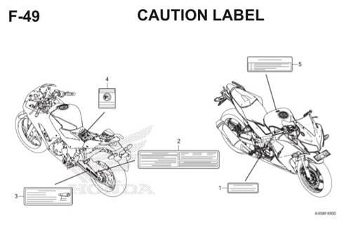 F-49 Caution Label CBR 150R K45A