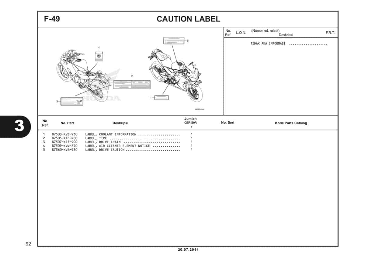 F-49 Caution Label Katalog CBR 150R K45A