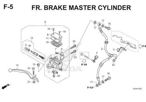 F5 – Front Brake Master Cylinder – Katalog Honda CBR 150R K45A