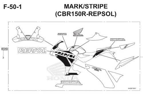 F50-1 – Mark/Stripe (CBR150R-Repsol) – Katalog Honda CBR 150R K45A