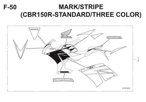 F-50 Mark Stripe (CBR150R Standard Three Color) CBR 150R K45A