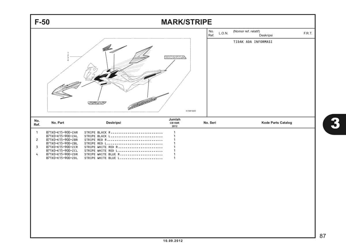 F-50 Mark /Stripe Katalog CB150R StreetFire K15